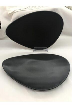 Keramika 35 Cm Oscar Servis Tabağı 2'li Mat Siyah