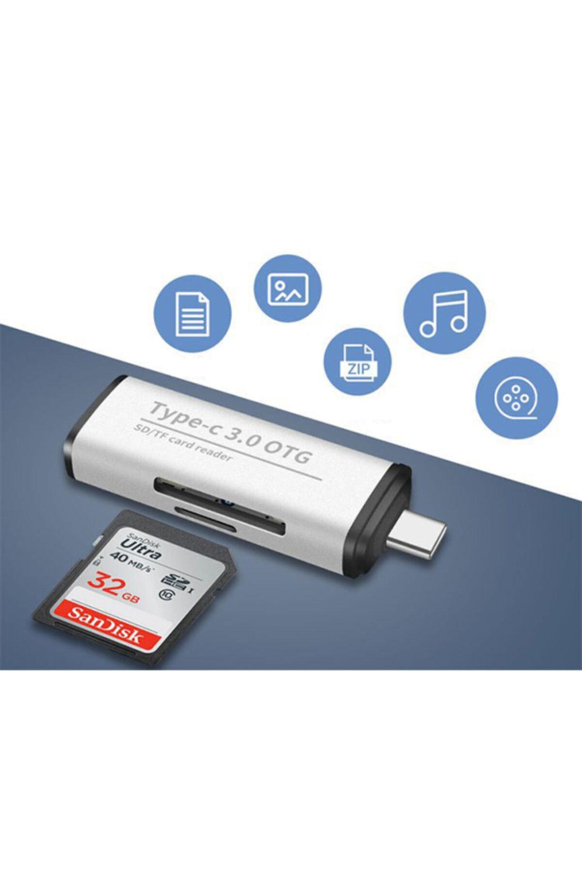 Ally Mobile Ads-103 Usb Type C 3.0 Hızlı Card Reader Sd-tf Hafıza Kart Okuyucu 1