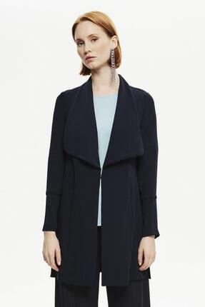 Naramaxx Kadın Lacivert Yaka Detaylı Uzun Ceket
