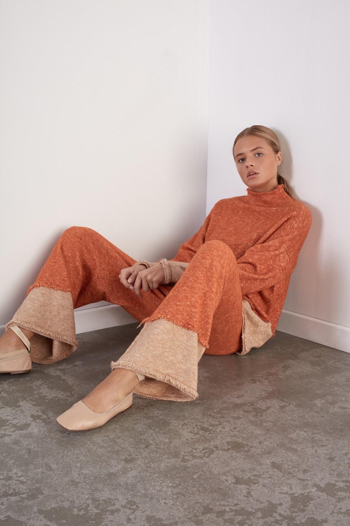 JOIN US Kadın Turuncu Beli Lastikli Triko Pantolon 1
