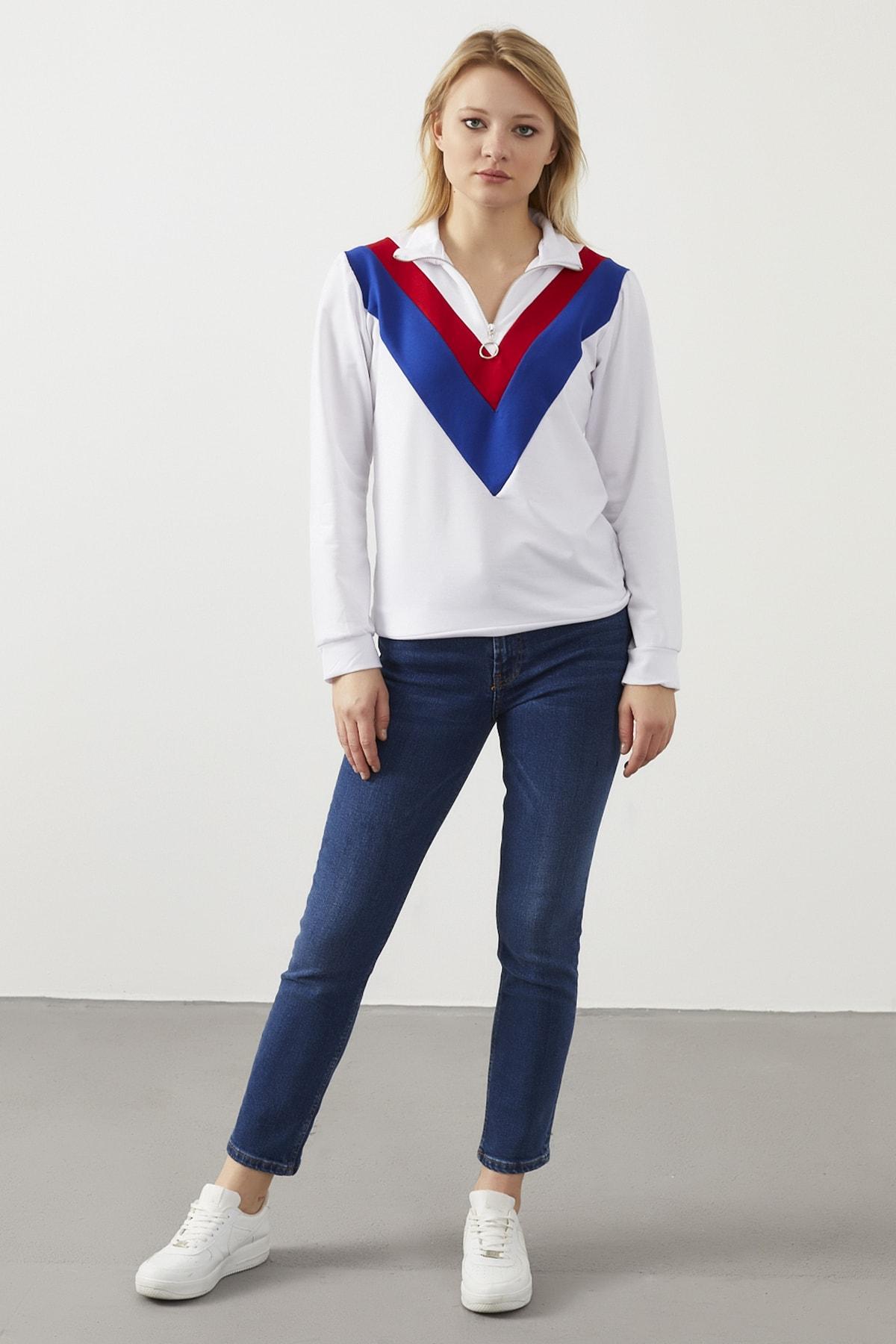 ELBİSENN Kadın Ekru Yaka Fermuar Detaylı Sweatshirt 1