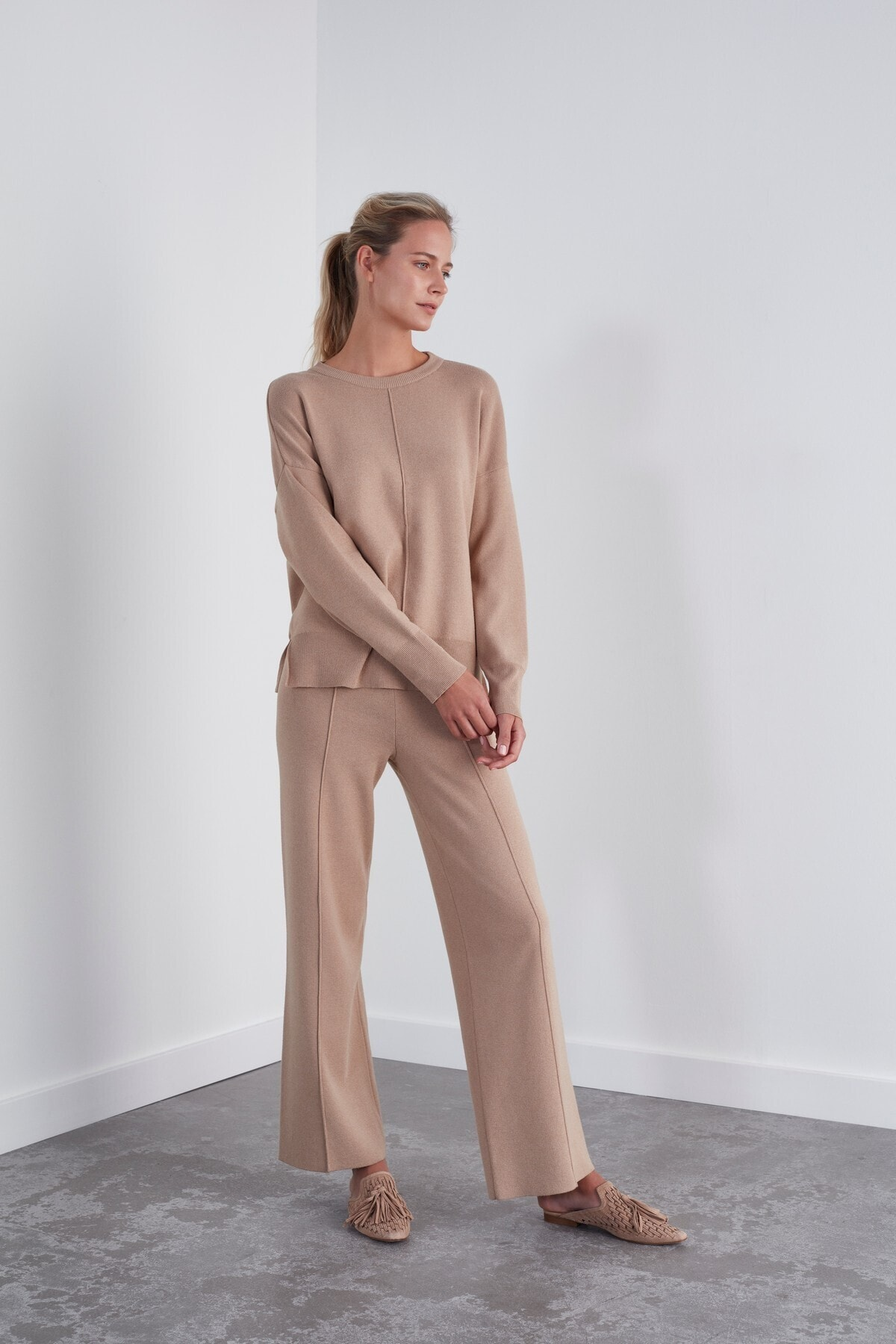 JOIN US Kadın Kahverengi Beli Lastikli Triko Pantolon 2