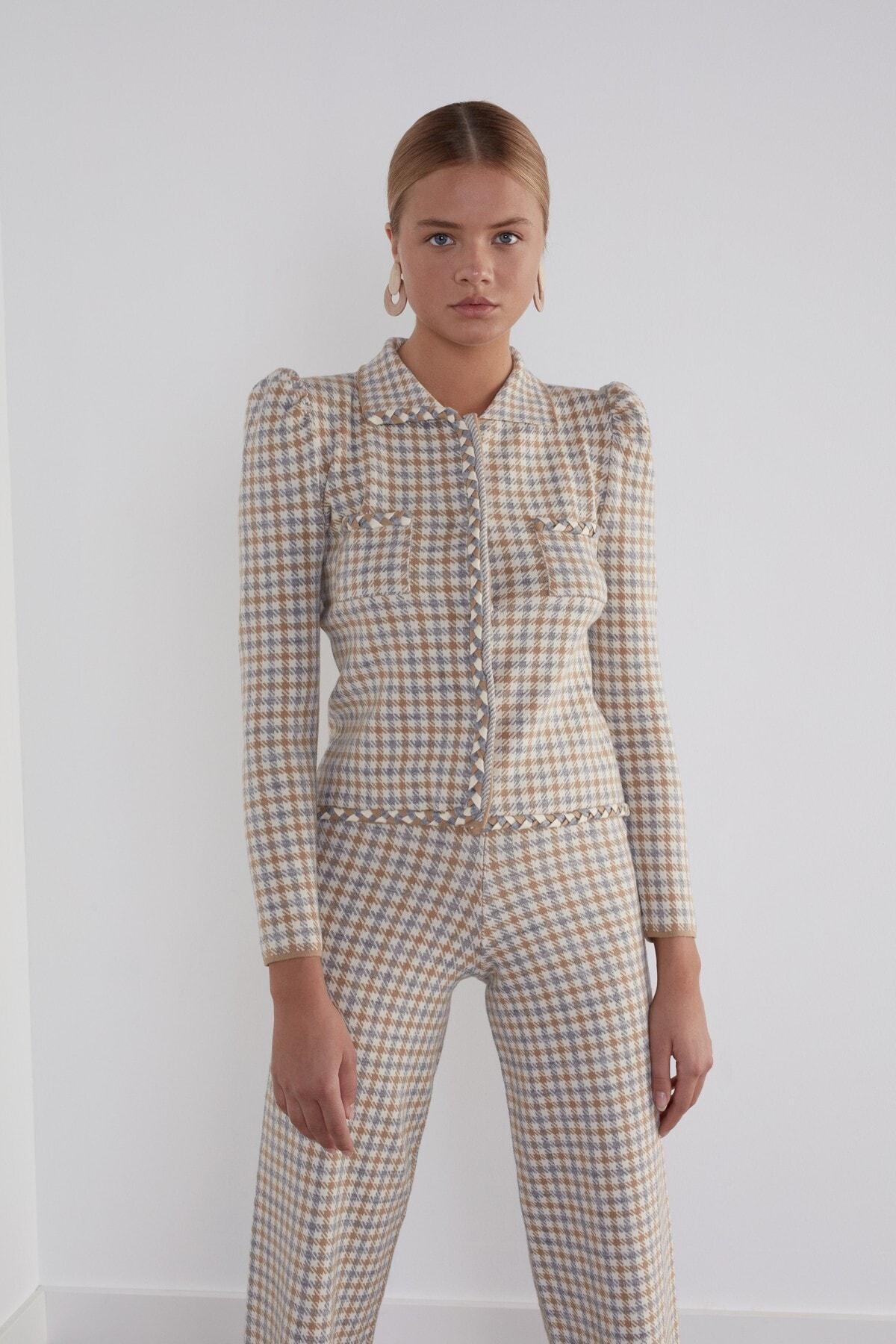 JOIN US Kadın Bej Kareli Beli Lastikli Desenli Triko Pantolon 2