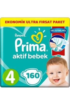 Prima Bebek Bezi Aktif Bebek 4 Beden 160 Adet Ekonomik Ultra Fırsat Paketi