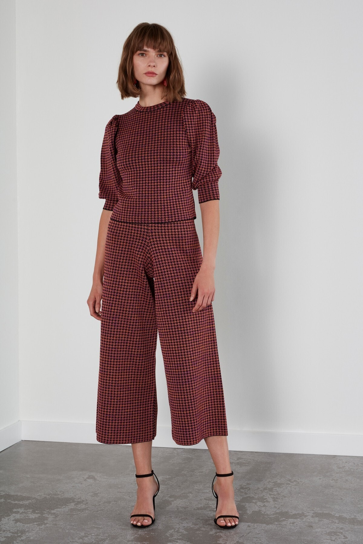 JOIN US Kadın Kahverengi Desenli Beli Lastikli Triko Pantolon 1