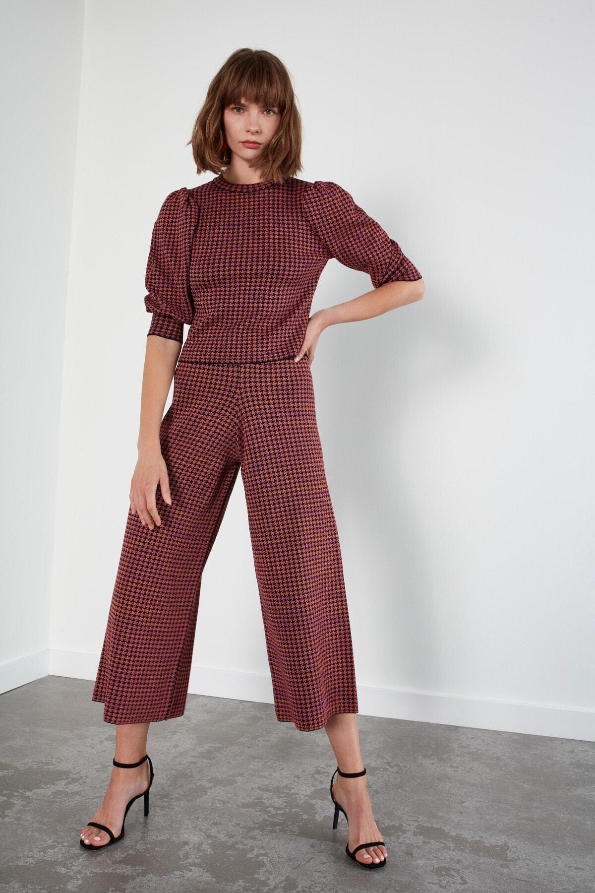 JOIN US Kadın Kahverengi Desenli Beli Lastikli Triko Pantolon 2