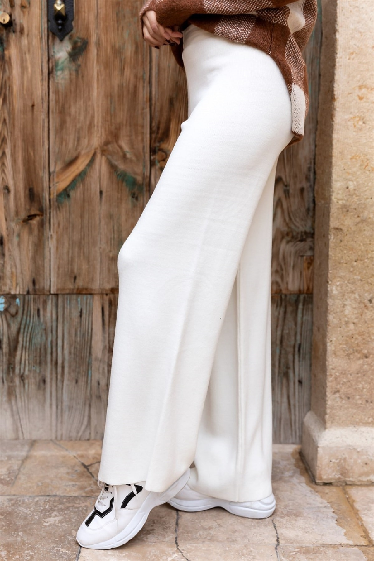DreamModa Kadın Beyaz Triko Örme Yünlü Pantolon 2