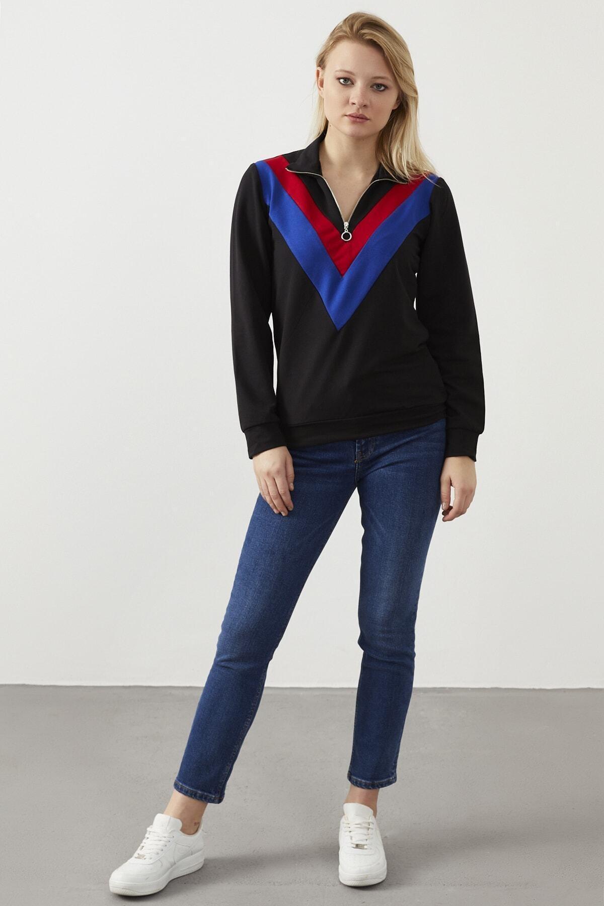 ELBİSENN Kadın Siyah Yaka Fermuar Detay Sweatshirt 2