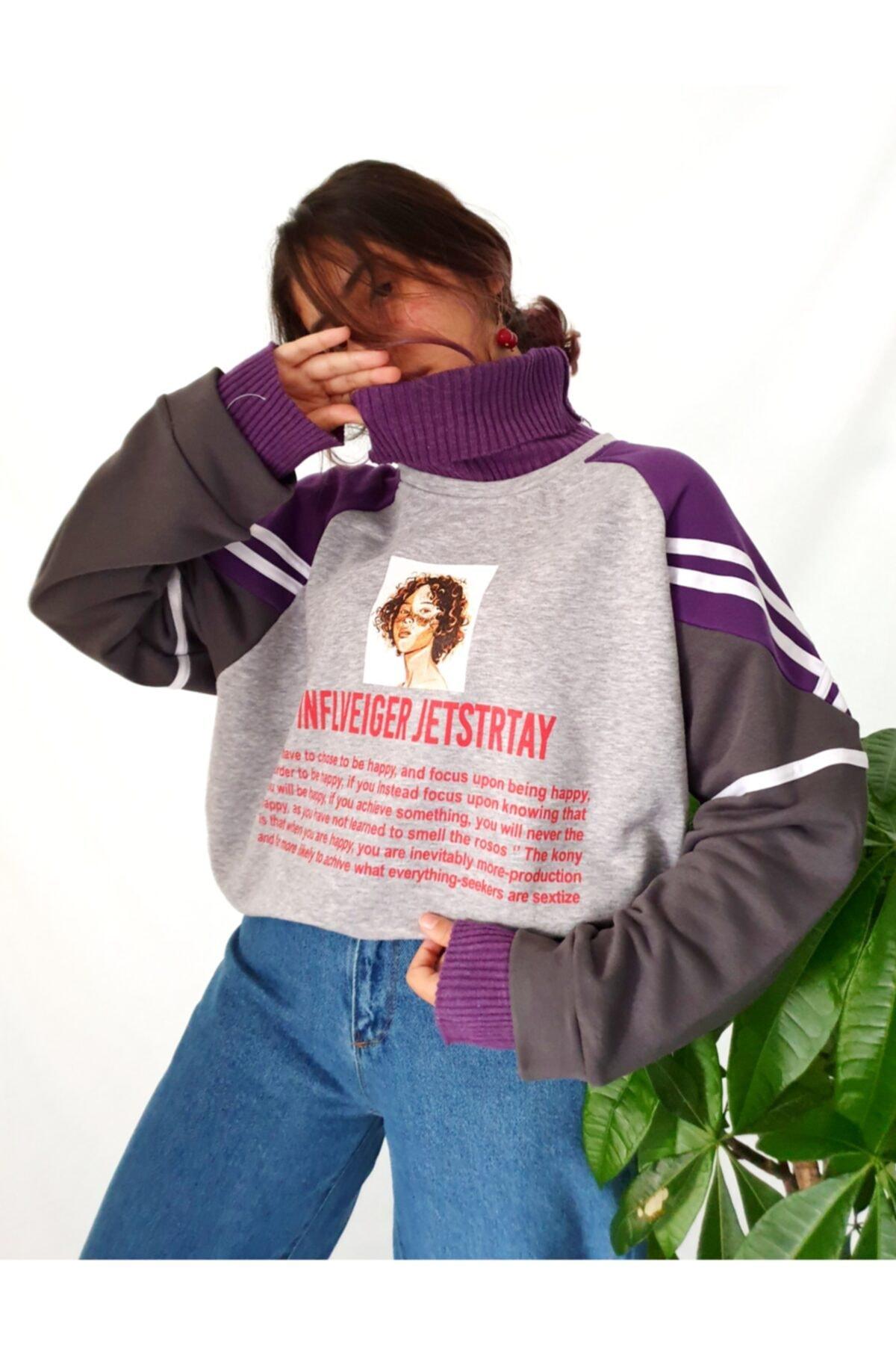 Carpe Kadın Mor Inflveiger Jetstrtay Kazak Sweatshirt 1