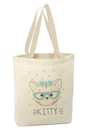 Angemiel Bag Gözlüklü Ve Kurdeleli Yavru Kedi Alışveriş Plaj Bez Çanta