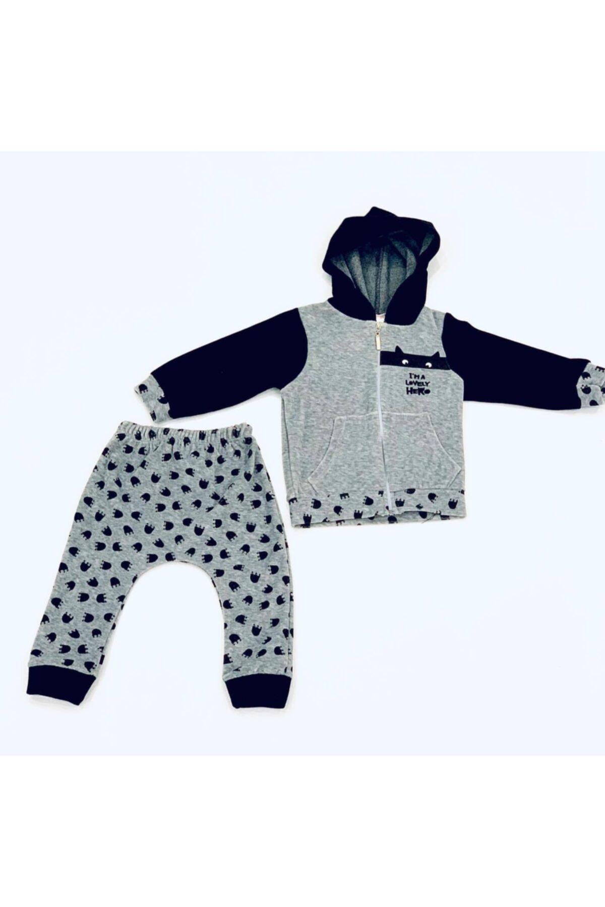 Tofigo Kids Erkek Bebek Gri Lovely Hero Yazılı Kapüşonlu Takım 1