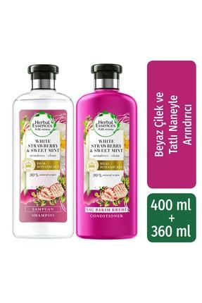 Herbal Essences Şampuan Arındırıcı Beyaz Çilek Ve Tatlı Nane 400 Ml + Saç Bakım Kremi 400 Ml