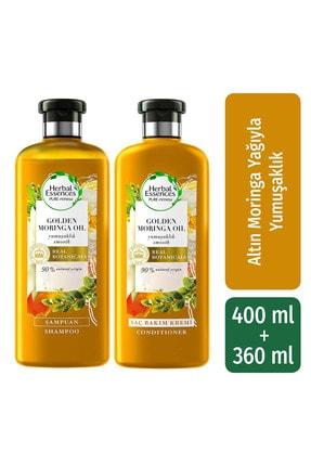 Herbal Essences Şampuan Yumuşaklık Altın Moringa Yağı 400 Ml + Saç Bakım Kremi 360 Ml