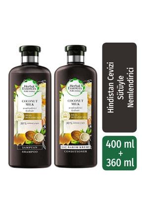 Herbal Essences Şampuan Nemlendirici Hindistan Cevizi Sütü 400 Ml + Saç Bakım Kremi 360 Ml
