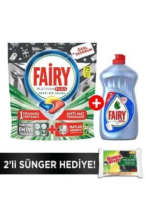Fairy Platinum Plus 75 Yıkama Bulaşık Makinesi Kapsülü+500ml Sıvı Hijyen+sünger