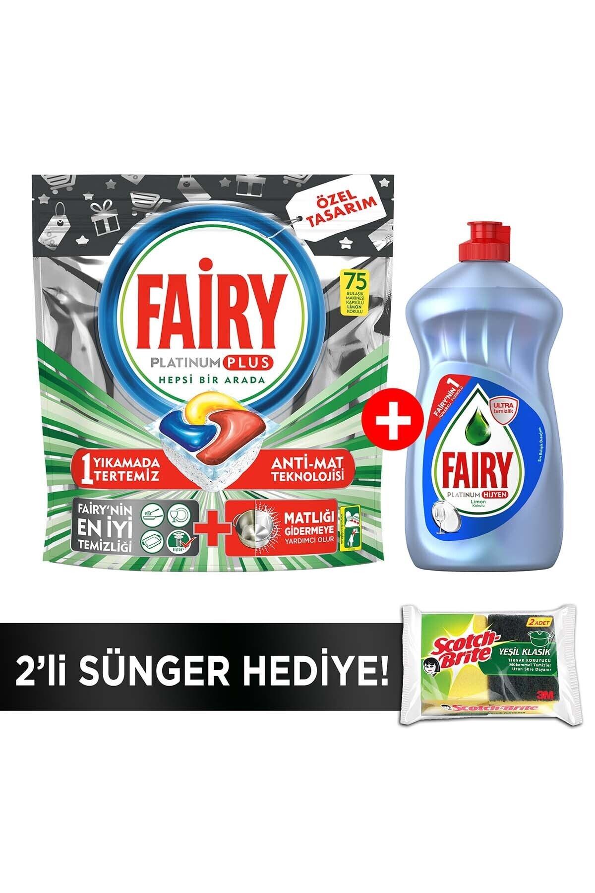 Fairy Platinum Plus 75 Yıkama Bulaşık Makinesi Kapsülü+500ml Sıvı Hijyen+sünger 1