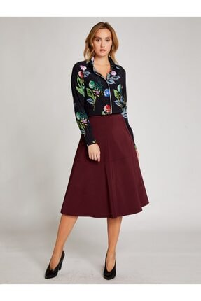 Vekem Kadın Siyah Pembe Çiçek Desenli Gömlek 9107-0036