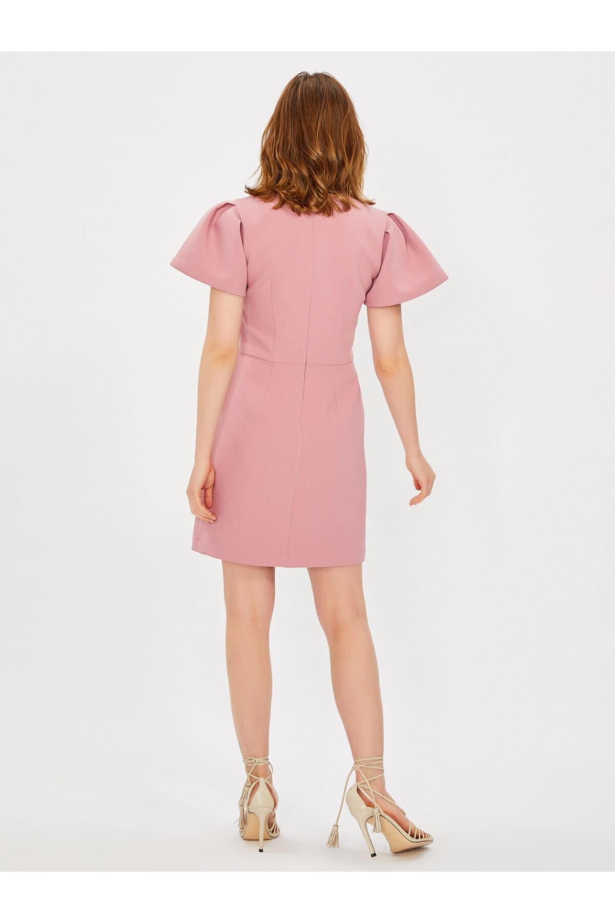 Vekem Kadın Pudra Balon Kol Pili Detaylı Elbise 2
