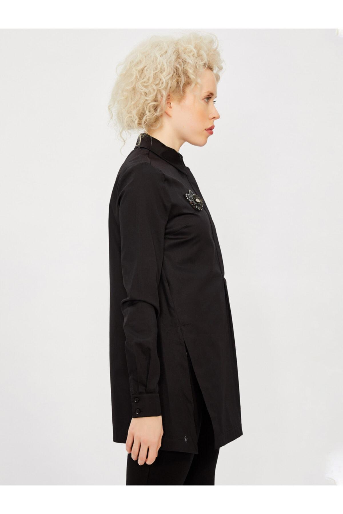 Vekem Kadın Siyah Klasik Kesim Broşlu %100 Pamuk Gömlek 2