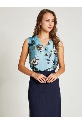 Vekem Kadın Mavi V Yaka Çiçek Desenli Bluz