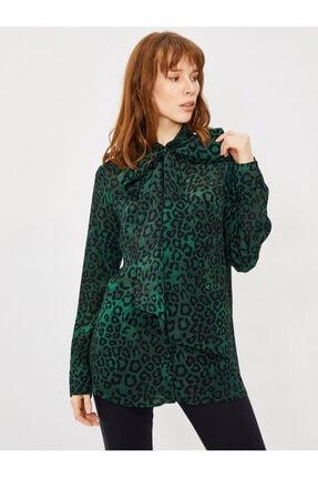 Vekem Kadın Yeşil Yakası Bağlamalı Leopar Desen Gömlek