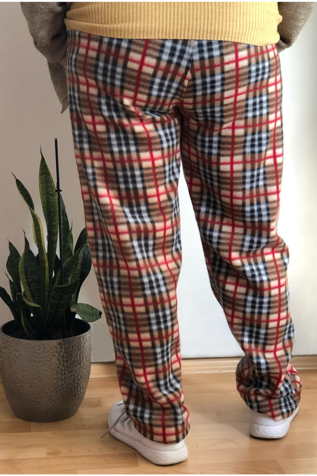 sinans moda Kadın Kahverengi Polar Desenli Pijama Altı 2