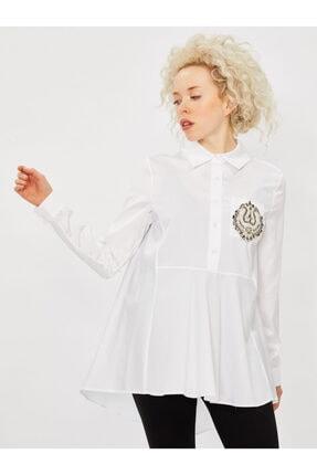 Vekem Kadın Beyaz Taş Detaylı Pamuk Gömlek