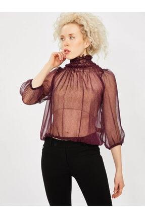 Vekem Kadın Bordo Yakası Büzgülü Şifon Bluz