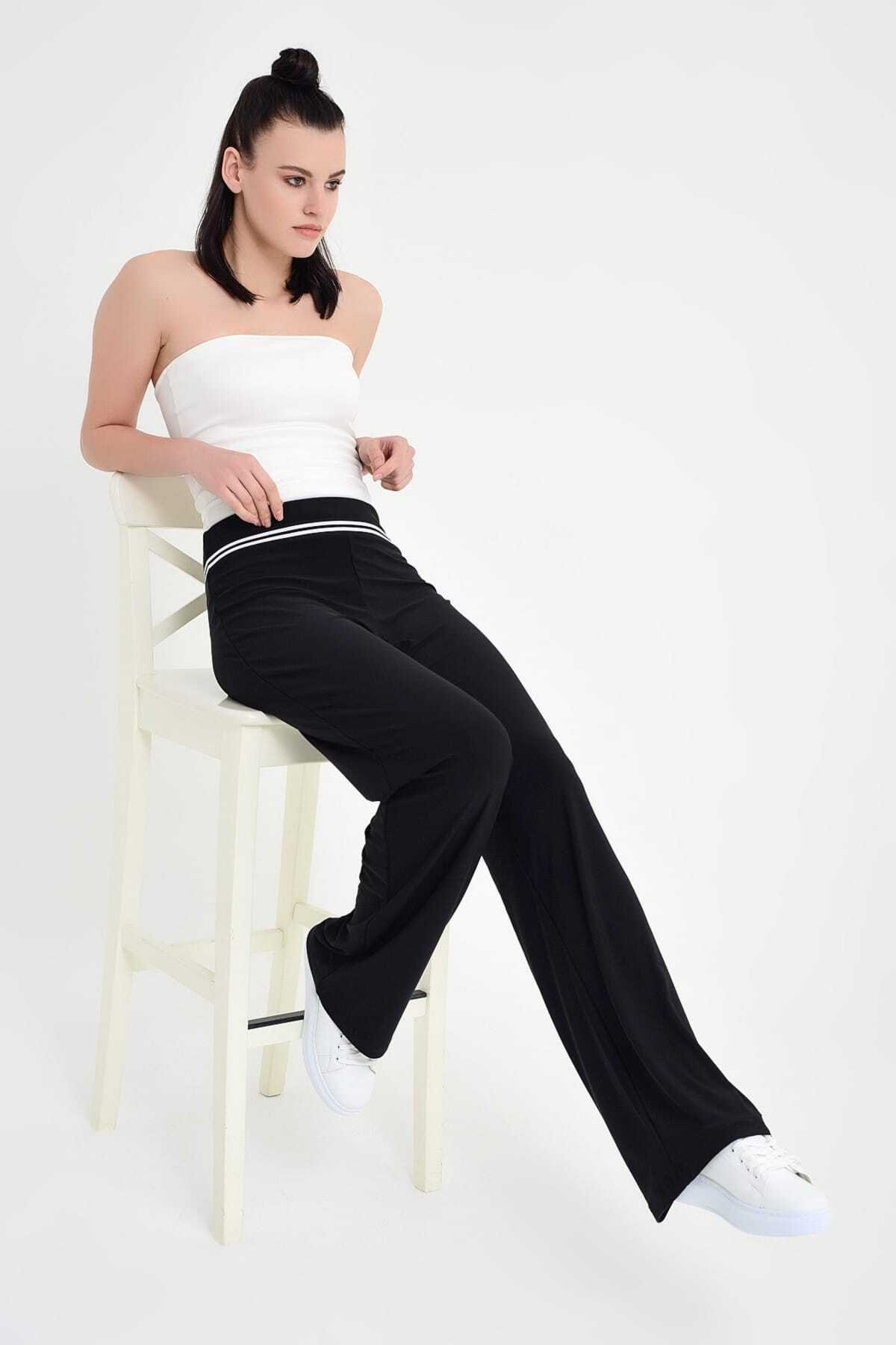 Laranor Kadın Siyah Belde Şerit Detay Bol Paça Pantolon 19L6586 1