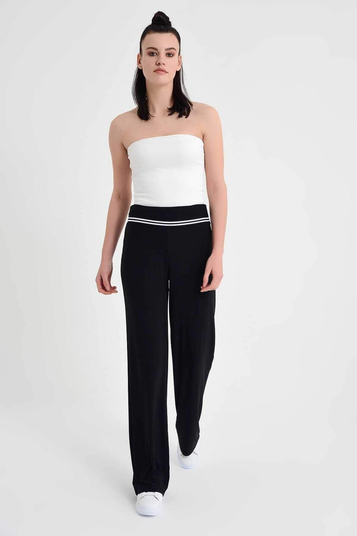 Laranor Kadın Siyah Belde Şerit Detay Bol Paça Pantolon 19L6586 2