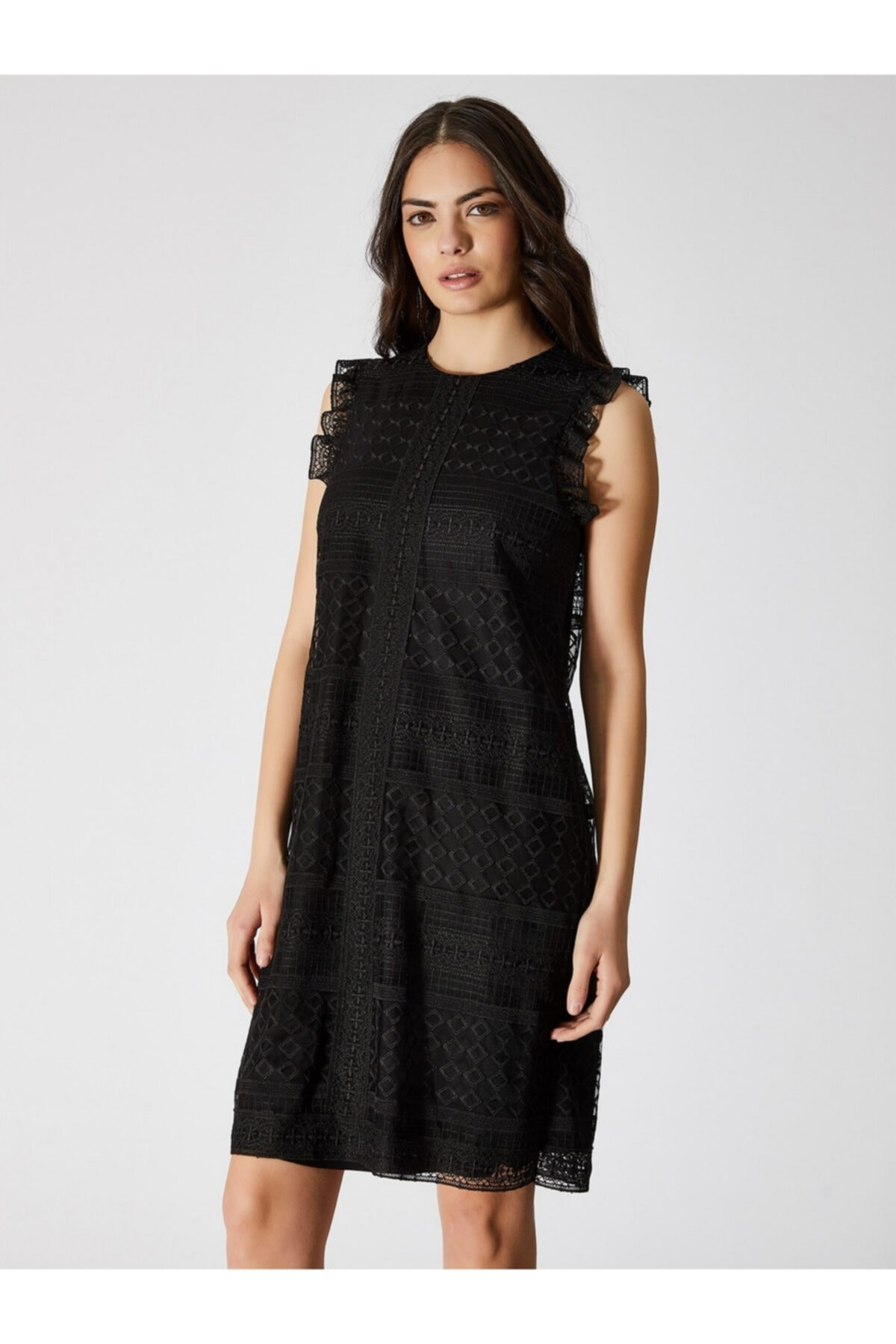Vekem Kadın Siyah Kolsuz Dantel Elbise 9109-0083 1