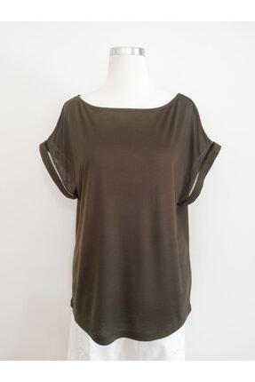 Vekem Kadın Yeşil Kayık Yaka Japone Kol Bluz 9107-0090