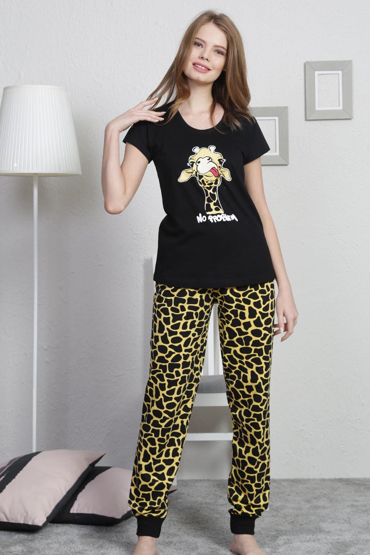 VİENETTA Kadın Siyah Kısa Kol Normal Beden Baskılı Desen Pijama Takım 2