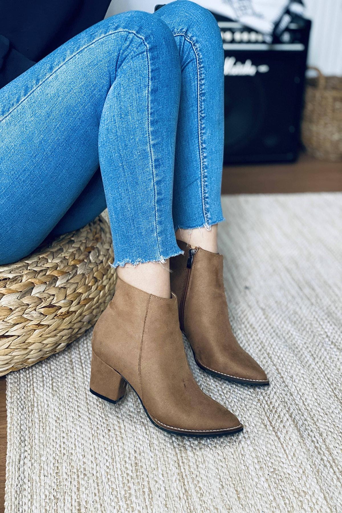 Mida Shoes Kadın Vizon Süet Sivri Burun Yarım Çizme 1
