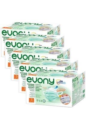 Evony 3 Katlı Filtreli Burun Telli Cerrahi Maske 250 Li Set (yumuşak Elastik Kulaklı)