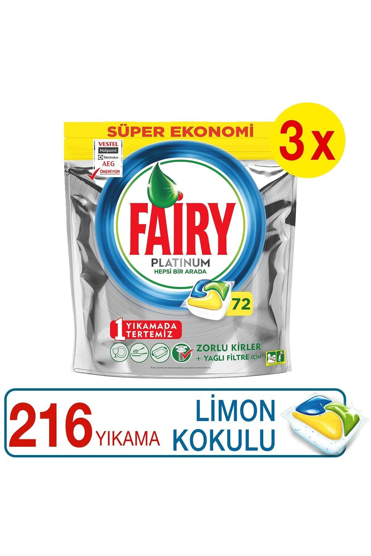 Fairy Platinum Limon Kokulu Bulaşık Makinesi Deterjanı Kapsülü  72 Yıkama x3 Adet 2