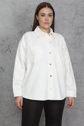 Şans Kadın Kemik Parlak Düğmeli Gömlek Mont 65N20667