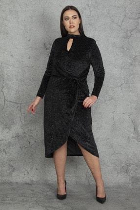 Şans Kadın Siyah Yaka Ve Bel Detaylı Astarlı Sim Elbise 65N20281