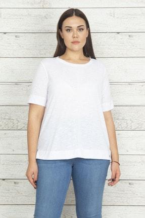 Şans Kadın Beyaz Önü Çima Detaylı Pamuklu Kumaş Bluz 65N20451
