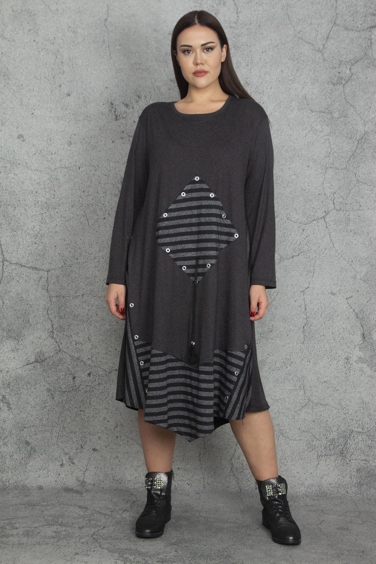 Şans Kadın Antrasit Taş Ve Çizgi Detaylı Elbise 65N20289 1