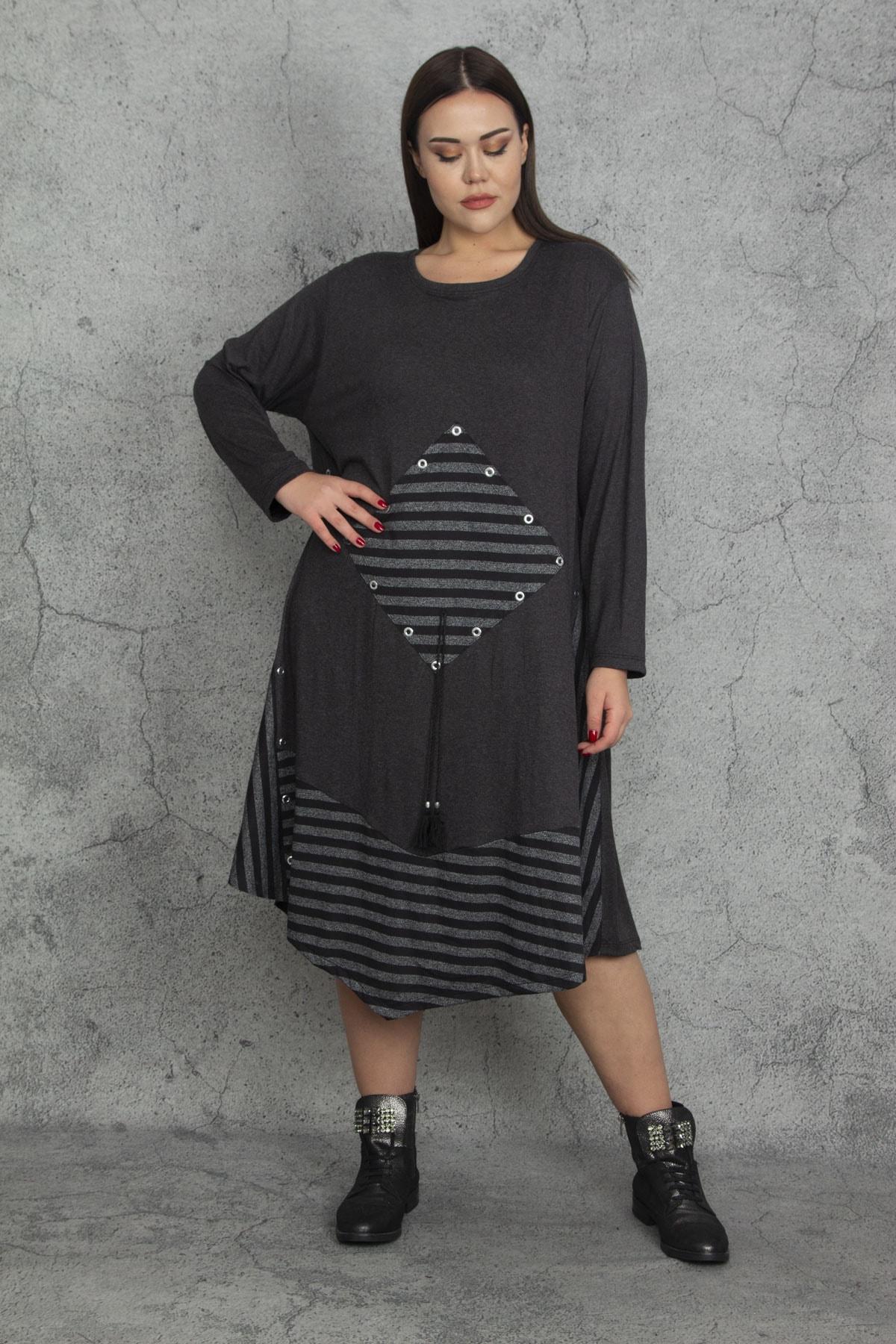 Şans Kadın Antrasit Taş Ve Çizgi Detaylı Elbise 65N20289 2