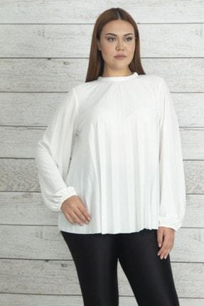 Şans Kadın Kemik Piliseli Kol Ağzı Lastik Detaylı Bluz 65N20337