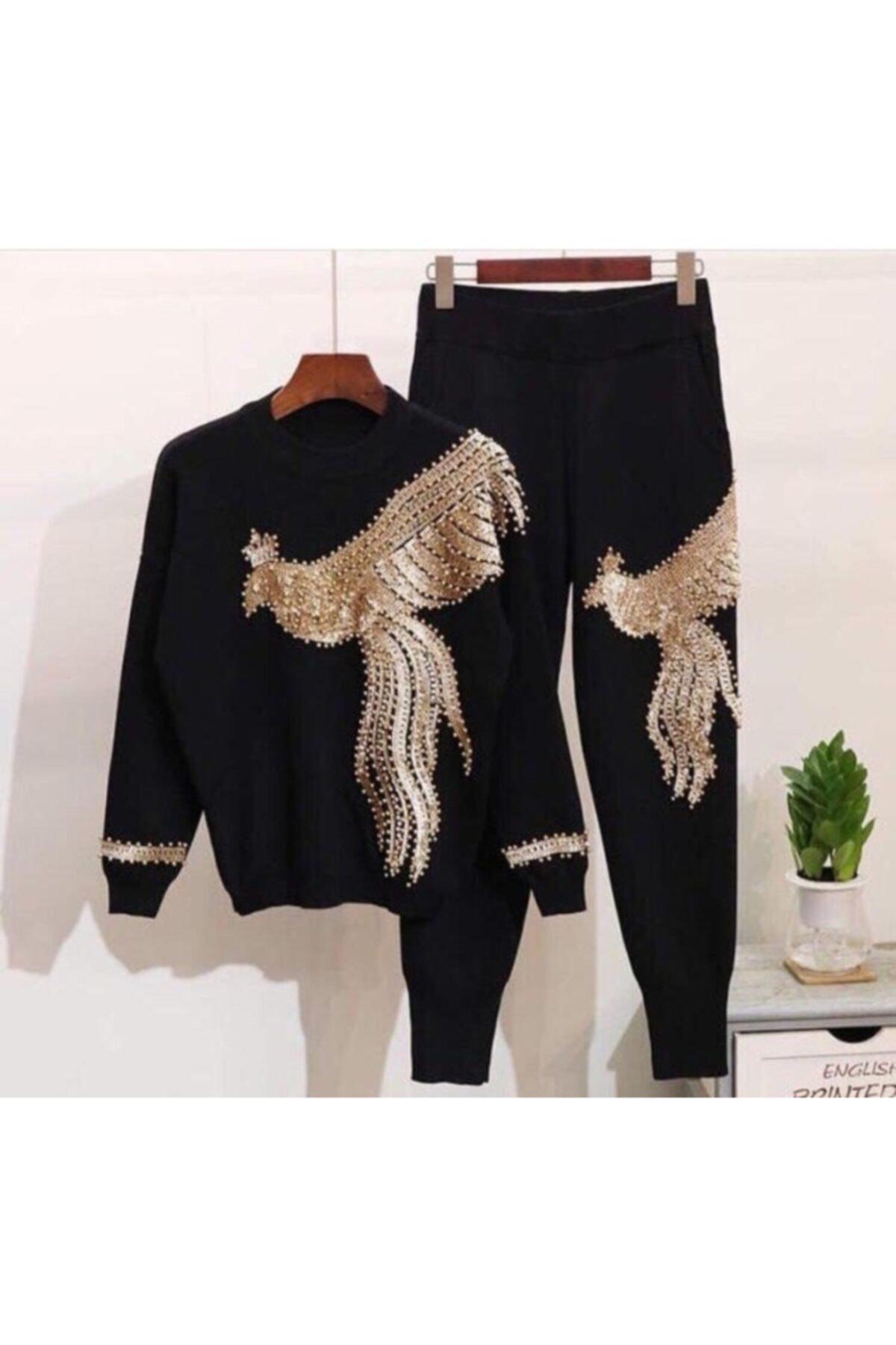ELBİSENN Kadın Siyah Pul Payet Işleme Ikili Tasarım Takım 1