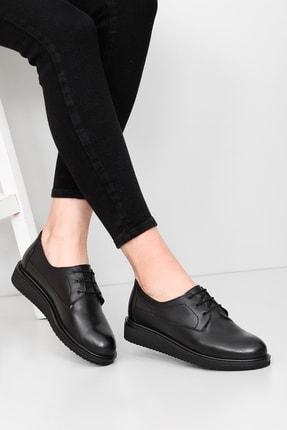 G.Ö.N Kadın Siyah Hakiki Deri Günlük Ayakkabı 24074