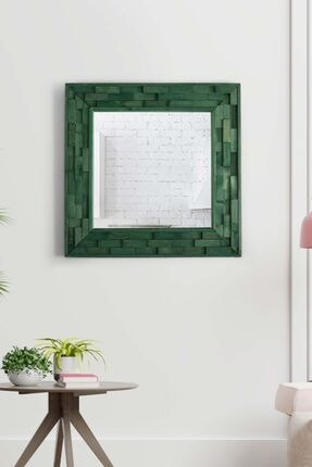 bluecape Doğal Ağaç Masif 58x58 Cm Jenga Yeşil Tahta Parçacıklı Salon Ofis Mutfak Duvar Konsol Boy Aynası