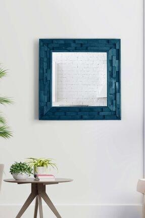bluecape Doğal Ağaç Masif Jenga Mavi Tahta Parçacıklı Salon Ofis Mutfak Duvar Konsol Boy Aynası  58x58 Cm