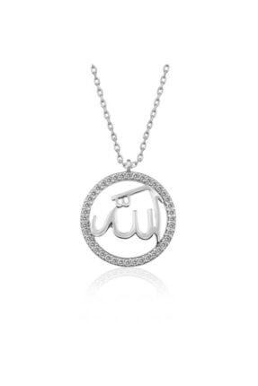 Gumush Gümüş Arapça Allah Yazılı Bayan Kolye