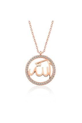 Gumush Gümüş Rose Arapça Allah Yazılı Bayan Kolye