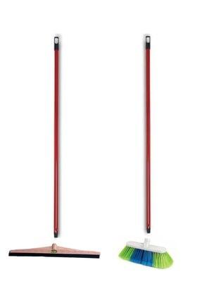 Emr züccaciye Emr Saplı Yer Fırçası Süpürgesi - Saplı Çekçek Çekpas 2 Li Set 4 Prç.