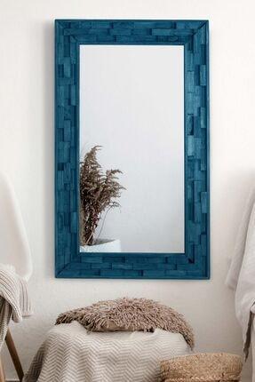 bluecape Doğal Ağaç Masif Jenga Mavi Tahta Parçacıklı Salon Ofis Mutfak Duvar Konsol Boy Aynası  58x98 Cm